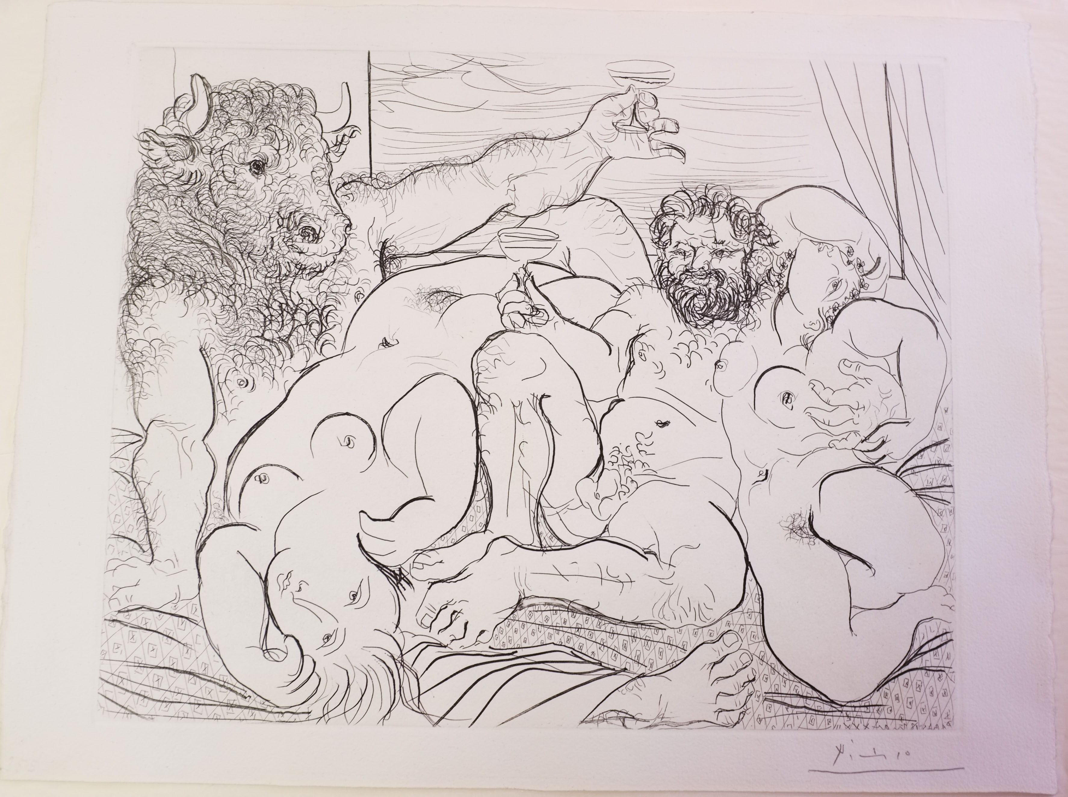 restoration and conservation of picasso etching on paper at London studio